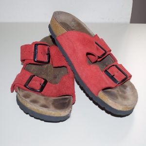 Birkenstocks Red Suede Sandals 39 8